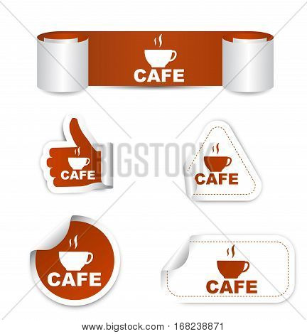 cafe sticker cafe brown sticker cafe brown vector sticker cafe set stickers cafe cafe eps10 design cafe sign cafe banner cafe