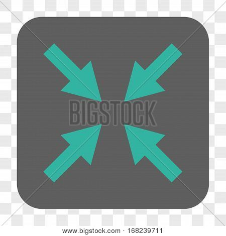 Compress Arrows interface toolbar button. Vector icon style is a flat symbol on a rounded square button cyan and gray colors chess transparent background.
