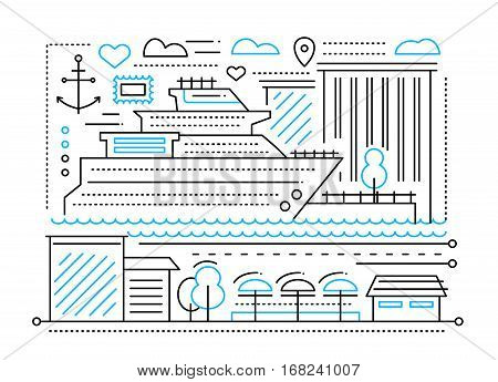 Voyage trip - vector plain line flat design illustration with cruise liner