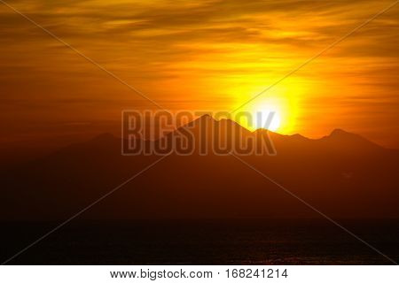 Rising sun from the mountain, Amed,  Bali Indonesia (Sunrice on the sea)