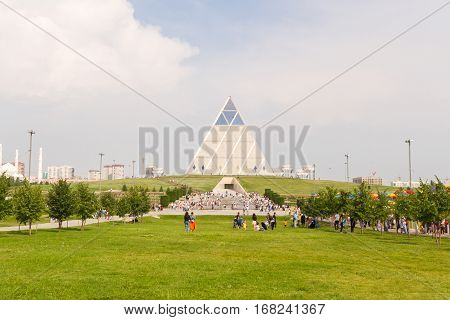 Astana, Kazakhstan - July 6, 2016: The Palace Of Peace And Accord. View  The Modern Architecture  Th