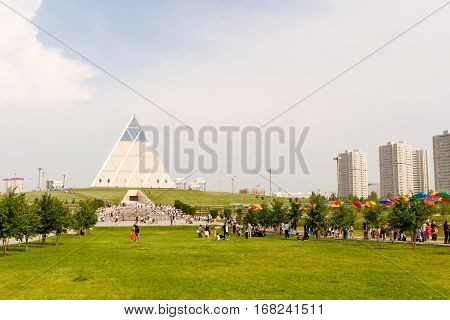 Astana, Kazakhstan - July 6, 2016: The Palace Of Peace And Accord. View The Modern Architecture The