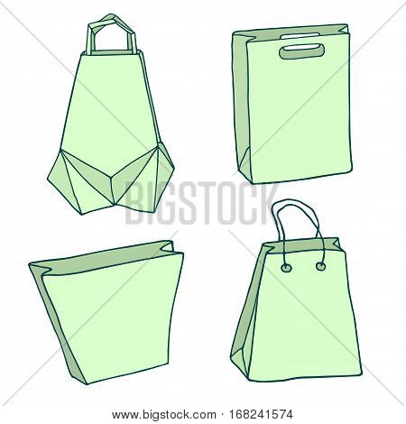 Various Shopping bags. Handbags, carriers, innovative origami bag, paper bags. Vector package set.
