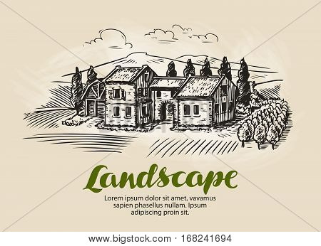 Country house, building sketch. Vintage rural landscape, farm cottage