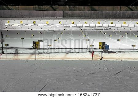 Kavgolovo.Russia.22 Jan 2017.The shooting range biathlon training center Lesgaft in Kavgolovo.Leningrad oblast.