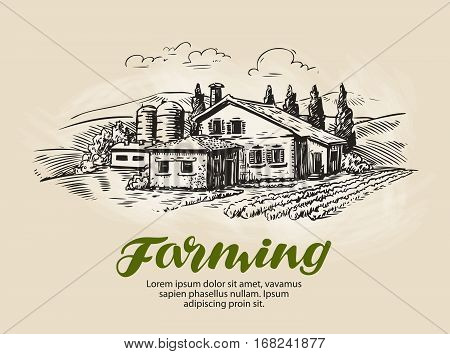 Cottage, country house sketch. Farm, rural landscape agriculture farming