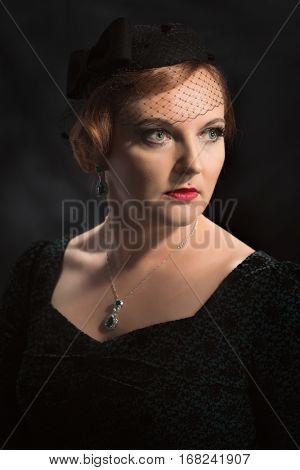 Classic portrait of twenties style beautiful woman