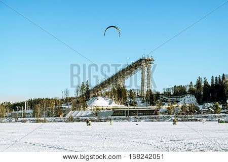 Kavgolovo .Russia.January 22 2017.Ski and jump in the educational training center in Kavgolovo in Saint-Petersburg in winter.