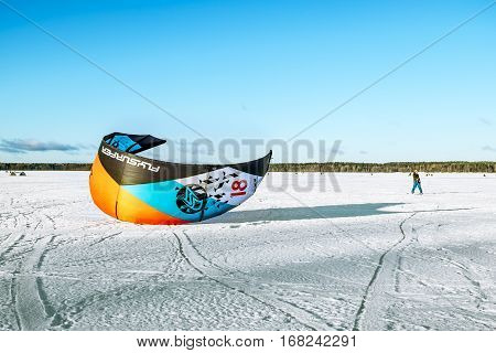 Kavgolovo.Russia.22 Jan 2017.Athletes engaged in Snowkiting on the ice lake Khepoyarvi in Kavgolovo Leningrad oblast