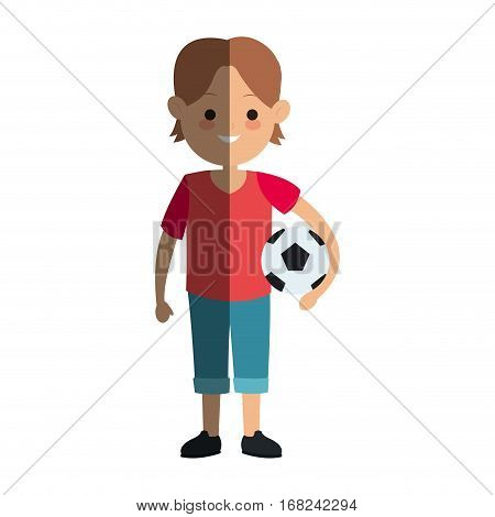 happy boy with soccer ball over white background. colorful design. vector illustration