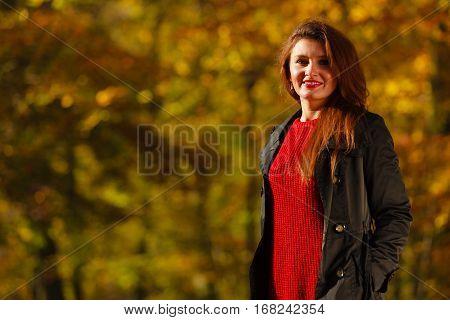 Girl Taking Walk Through Park.