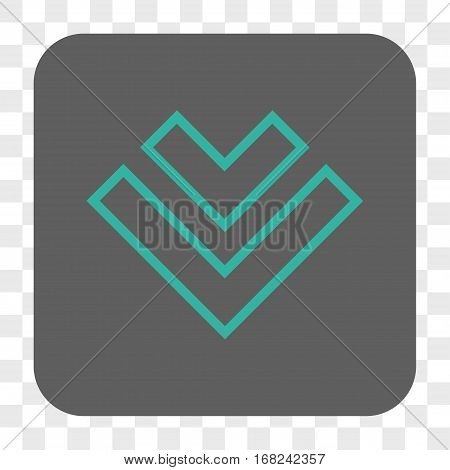 Direction Down interface toolbar button. Vector icon style is a flat symbol in a rounded square button cyan and gray colors chess transparent background.