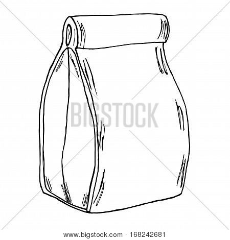 Paper lunch bag. Hand drawn cartoon sketch. Vector
