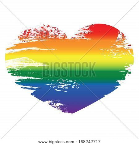 Heart Icon Isolated On White Background.  Rainbow Heart With Han