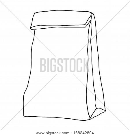 Lunch bag. Paper bag. Container. Hand drawn graphic illustration. Isolated on white.