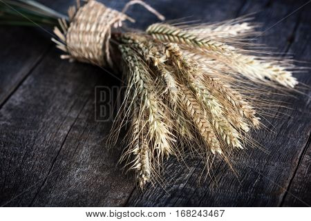Rye Spikelets On Wood