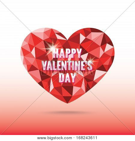 Polygonal red heart valentine's day with shadow vector low poly origami style