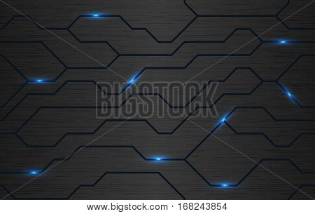Seamless vector futuristic dark iron techno texture. Blue abstract electron energy line on brushed black metal background. Power vein light tech pattern