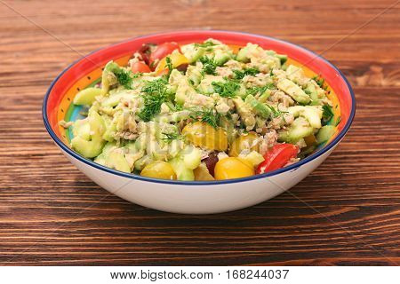 Low carbs Tuna Avocado Salad For Fat Loss And Muscle Gain. Healthy eating concept.