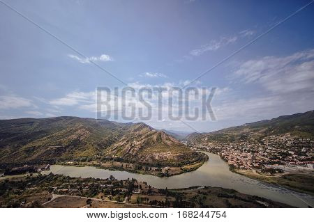 View Of The City Of Mtskheta And The Kura River