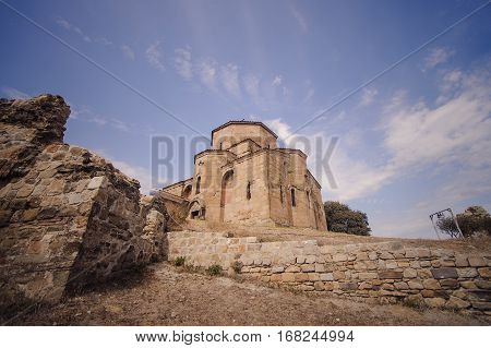 Jvari Church on the Mount Mtskheta. sky and rocks
