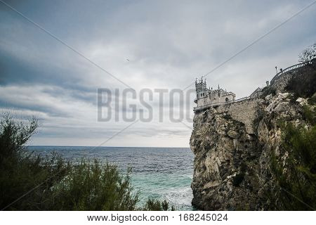 Castle Swallow's Nest in Crimea, water and sky