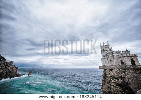 Castle Swallow's Nest in Crimea, sea and sky