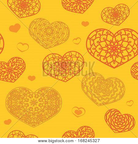Seamless Colored Pattern With Ornamental Hearts In Yellow And Or