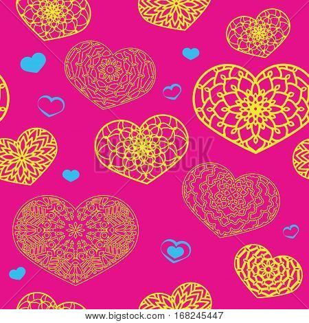 Seamless Colored Pattern With Ornamental Hearts In Bright Colors