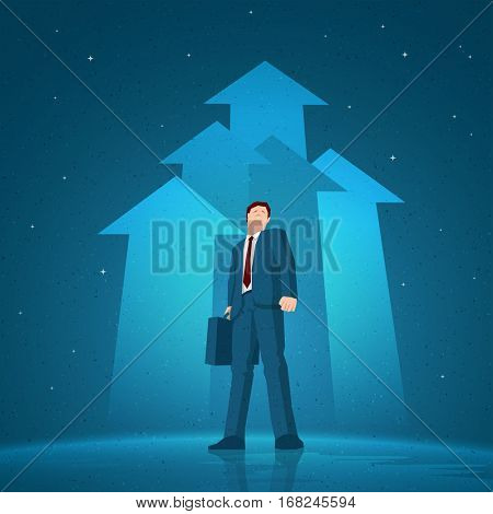 Businessman standing in the night on rising arrows background. Vector illustration. Elements are layered separately in vector file.