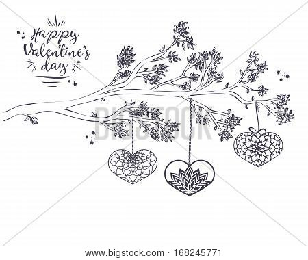 Hand Drawn Branch With Leaves And Ornamental Heart With Inked Dr