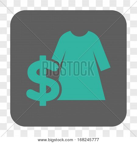 Dress Price interface toolbar button. Vector icon style is a flat symbol on a rounded square button cyan and gray colors chess transparent background.
