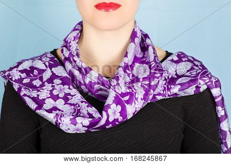 Lilac Silk Scarf Around Her Neck Isolated On White Background.