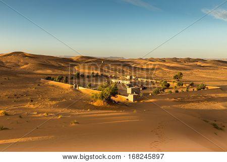 The berber camp in Sahara desert, Morocco.