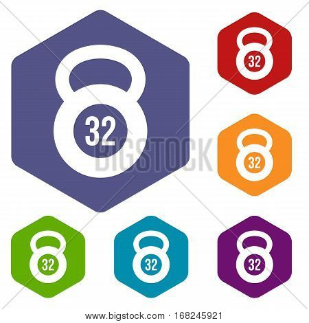 Kettlebell 32 kg icons set rhombus in different colors isolated on white background poster