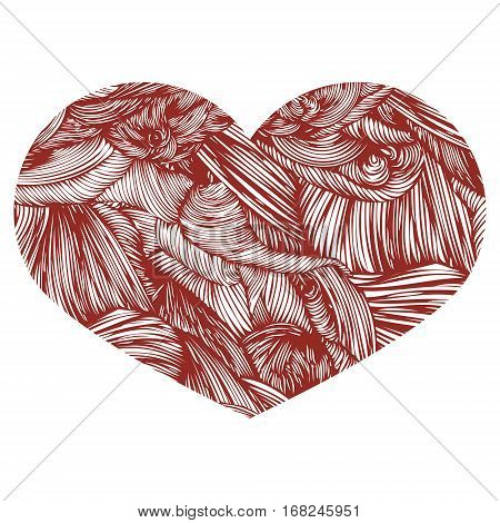 Ornamental Heart. Ink Drawing Heart With Wave Pattern. Doodle St