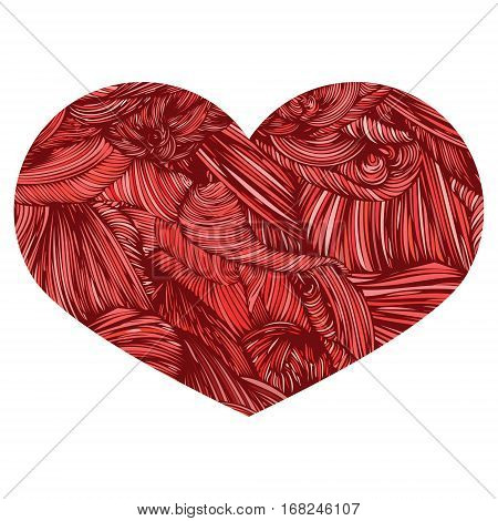 Vivid Ornamental Heart In Red Colors. Ink Drawing Heart With Wav