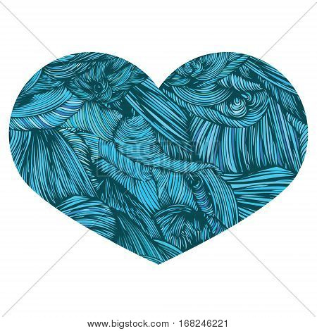 Vivid Ornamental Heart in greenish-blue. Ink drawing heart with wave pattern. Doodle Style hand drawn Vintage ornate design element for Valentine's Day or Wedding. Stock Vector. Colorful.