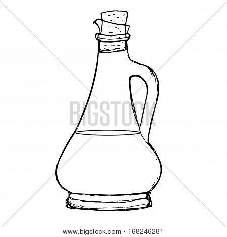Bottle of oil or sauce Olive oil, balsamic vinegar sauce, soy sauce jar Hand drawn sketch