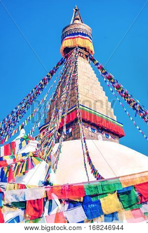 Bodhnath stupa in kathmandu with buddha eyes and prayer flags. Kathmandu. Nepal