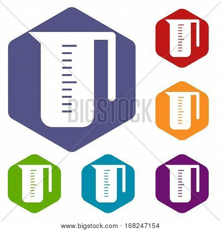 Measuring cup icons set rhombus in different colors isolated on white background