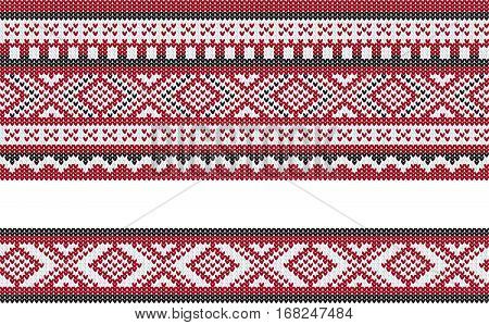 Seamless pattern, knitting imitation. White, red and black colors.