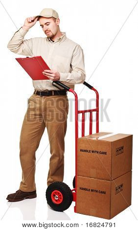 delivery man at work isolated on white background