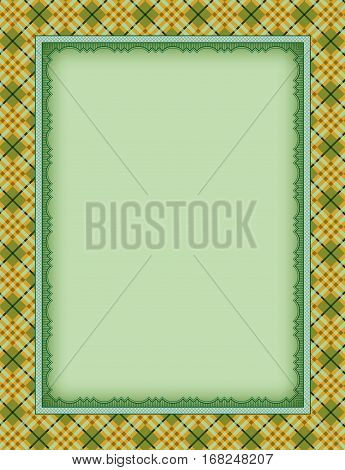 Ornate color rectangular frame and plaid seamless background. Template for card, certificate, advertisement. Swatch is included in vector file.