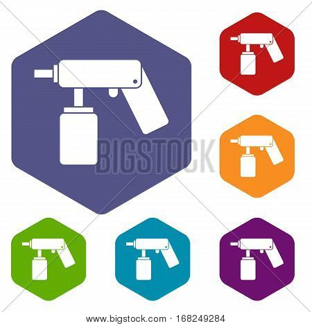 Spray aerosol can bottle with a nozzle icons set rhombus in different colors isolated on white background