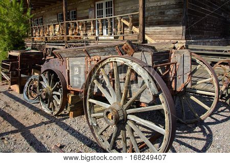 Old wooden wagon in the ghost town of Calico, California, USA