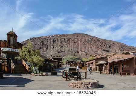 Calico, California, USA - July 1, 2015: The main street in the ghost town of Calico