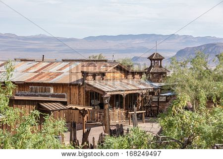 Calico, California, USA - July 1, 2015: Old wooden house in the ghost town of Calico