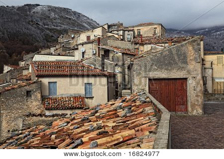 streetview of ancient italian village poster