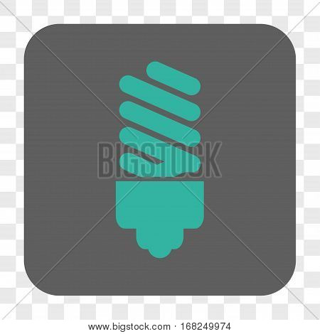 Fluorescent Bulb interface toolbar button. Vector icon style is a flat symbol in a rounded square button cyan and gray colors chess transparent background.